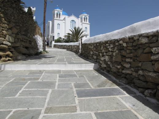 a walkway leading to the Cathedral of Ios