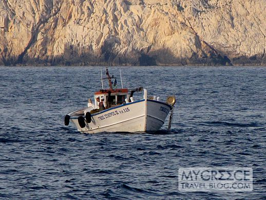 fishing boat in Egali Bay at Amorgos