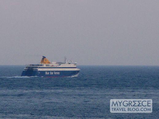 Blue Star Naxos ferry departs Amorgos