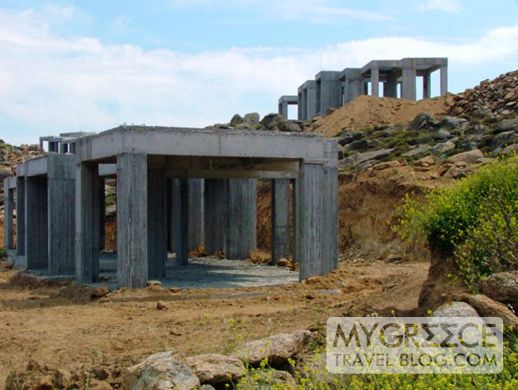 Construction at Super Paradise beach on Mykonos