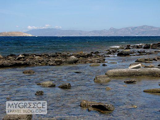 Delos coastline and view toward Mykonos