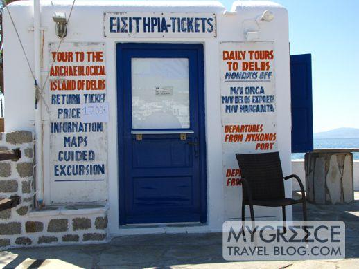Delos ticket booth on Mykonos