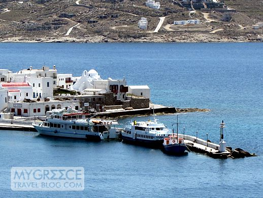 Excursion boats in Mykonos harbour