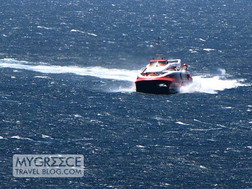 Flyingcat4 approaching Mykonos Old Port