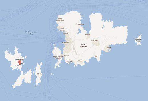 Google map showing Rinia Delos and Mykonos