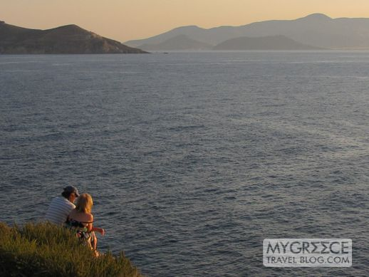 Tourists on the Palatia peninsula on Naxos