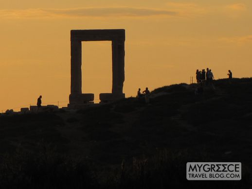 The Portara monument on Naxos at sunset