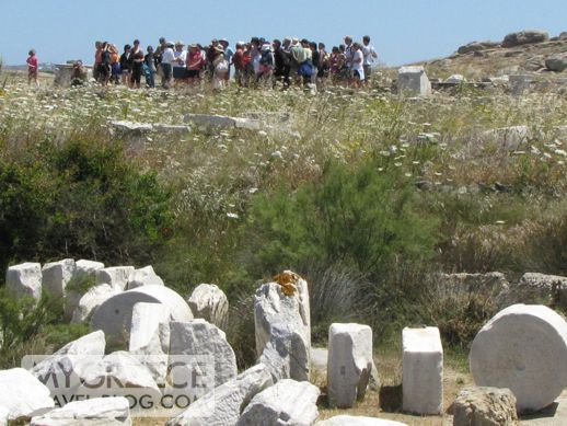 Tour group on Delos island