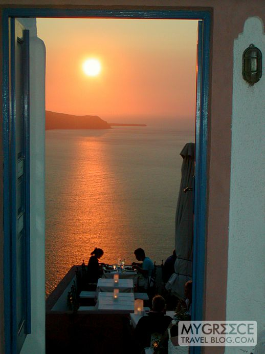 Sunset dining in Fira Santorini