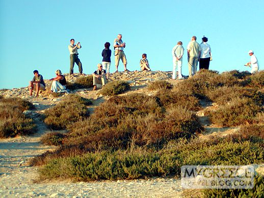 Tourists on the Palatia peninsula at Naxos