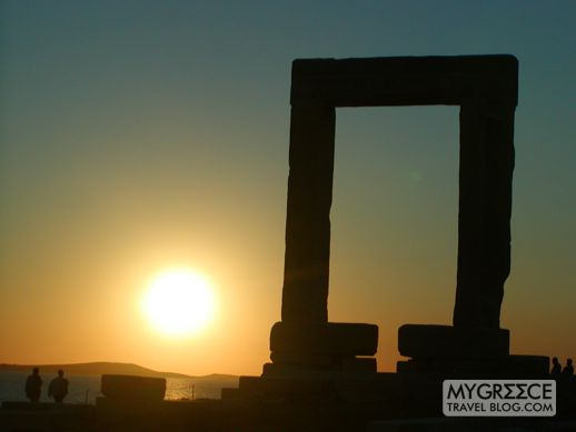 The Portara on Naxos at sunset