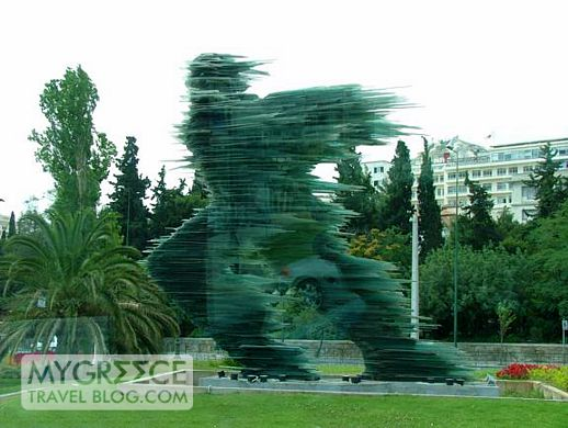 Dromeas, the running man statue in downtown Athens