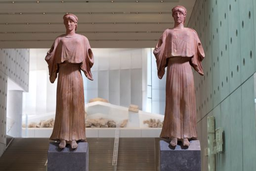 The Two Nikes in the Gallery of the Slopes in the Acropolis Museum in Athens