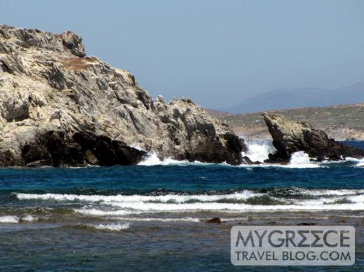 rough waters in a channel at Delos Island