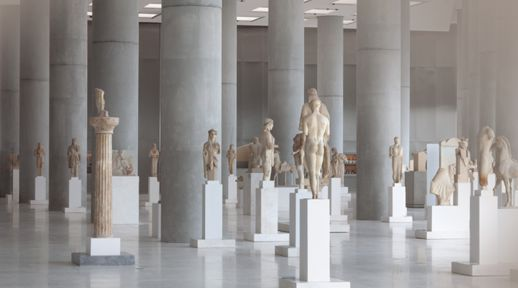 statuary in The Archaic Gallery at the Acropolis Museum