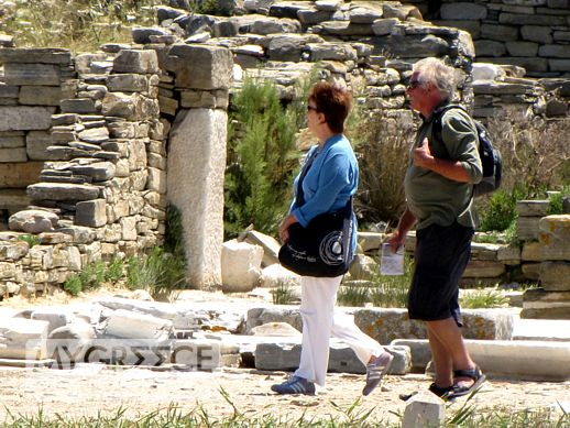 tourists on Delos island