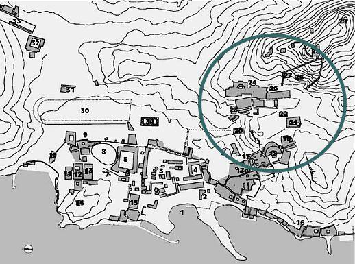 Map of ruins on Delos island