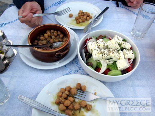 Roasted chickpeas and Greek Salad