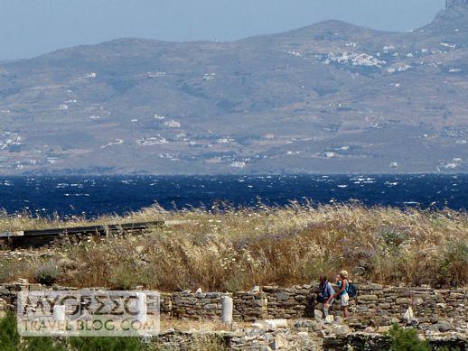 Delos view of Mykonos island