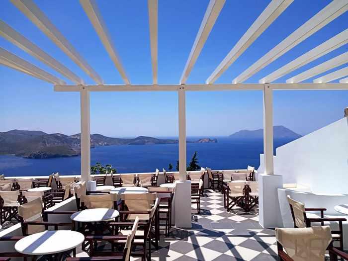 Utopia Cafe seaview terrace on Milos island