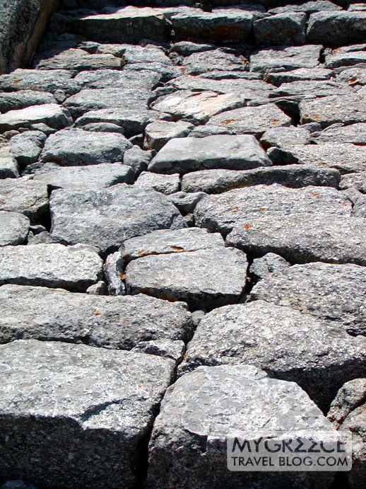 stone path on Mt Kynthos on Delos island