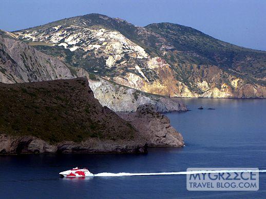 Greek ferry in the Gulf of Milos