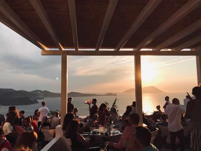 Utopia Cafe Milos patio at sunset
