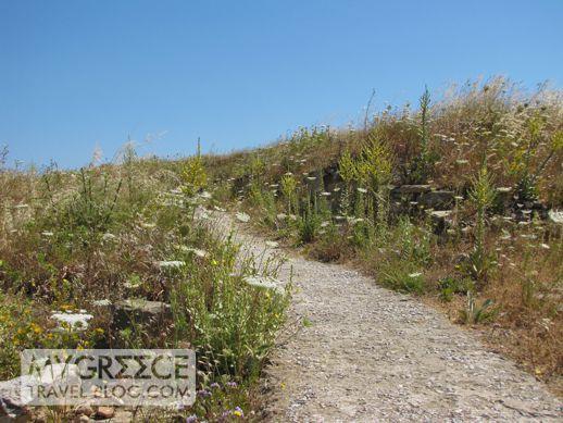 a pathway on Delos hillside