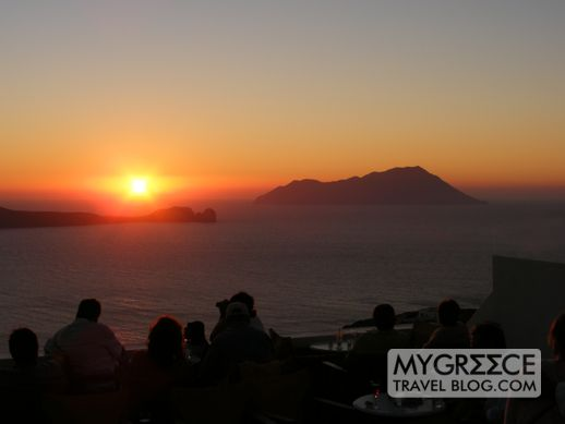 sunset view from Utopia Cafe Milos