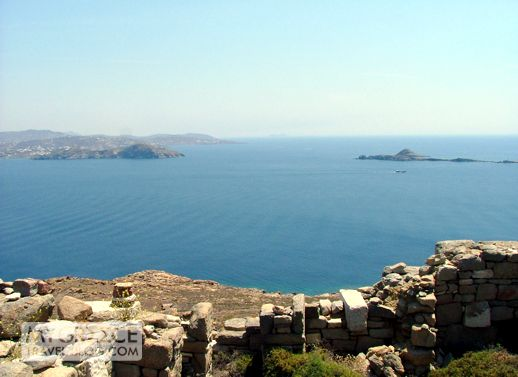 view of Mykonos from Mt Kynthos on Delos island