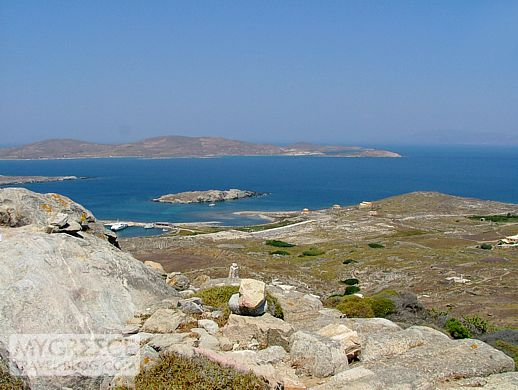 view from Mt Kynthos on Delos island