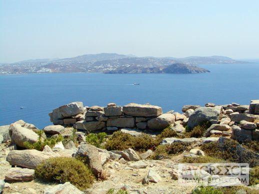 view of Mykonos from the top of Mt Kynthos on Delos island