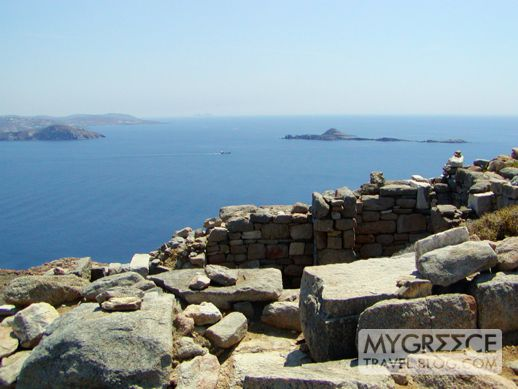 view from summit of Mt Kynthos on Delos island