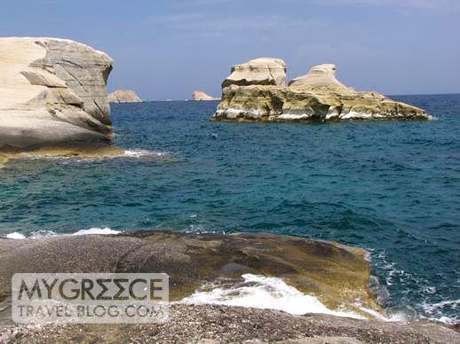 Sarakiniko beach area on Milos