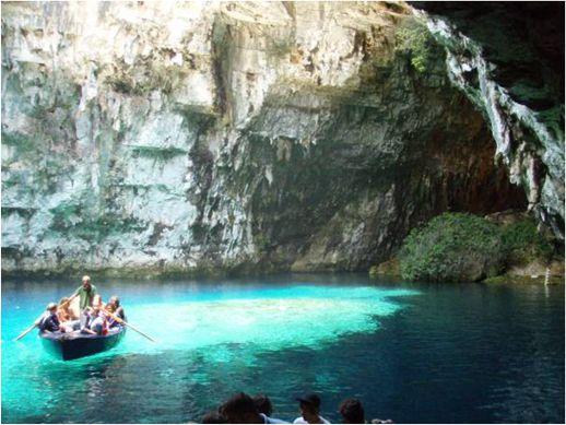 Melissani underground lake on Lefkada