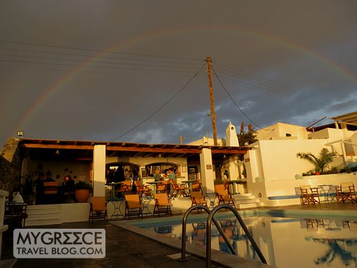 rainbow over Hotel Tagoo Mykonos