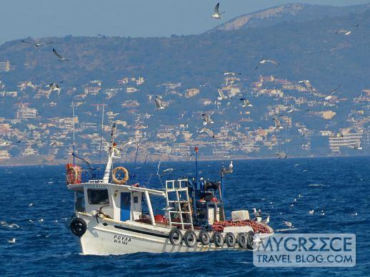 a fishing boat in Varkiza bay