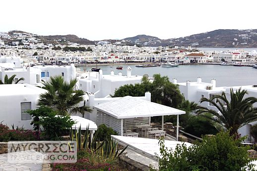 Mykonos Town viewed from Porto Mykonos Hotel