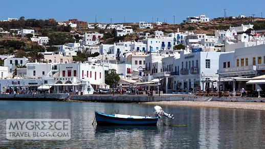 Mykonos Town harbour and waterfront area
