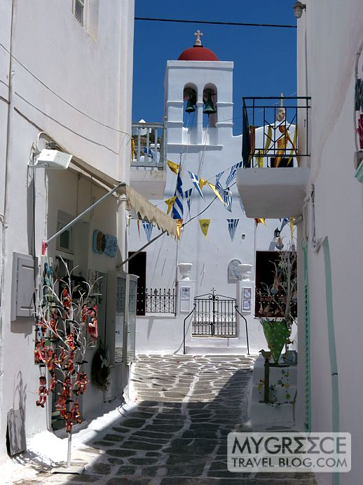 a red domed church in Mykonos Town