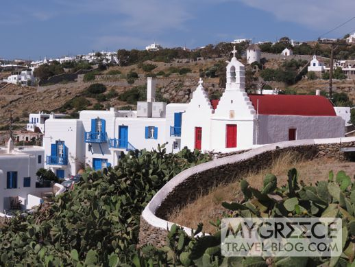 red domed churches in Mykonos