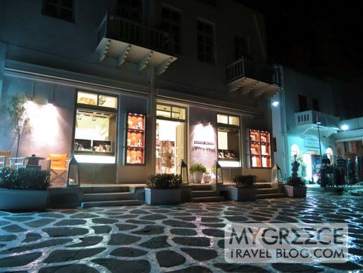 Marco Bicego jewellery shop at the Mykonos waterfront