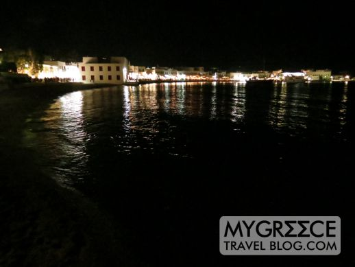 Mykonos Town harbourfront at night