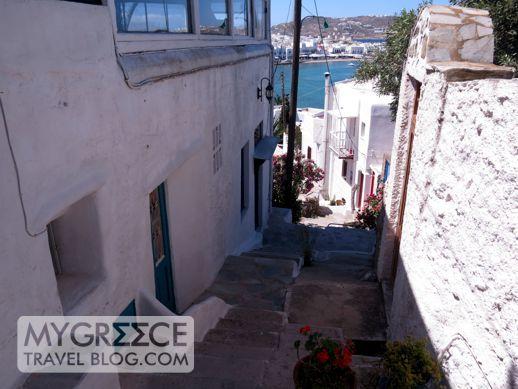 a footpath in Mykonos Town