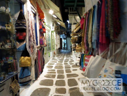 a street behind Little Venice in Mykonos Town
