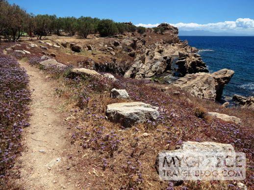 trail near Paraga beach Mykonos
