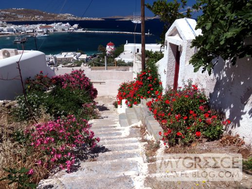 a hillside footpath on Mykonos
