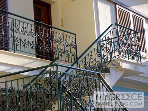 ornate railings on a building in Vathi on Samos