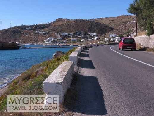 road from Mykonos Town to New Port at Tourlos
