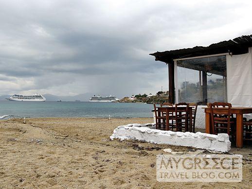 Joanna's Niko's beach taverna at Megali Ammos beach Mykonos